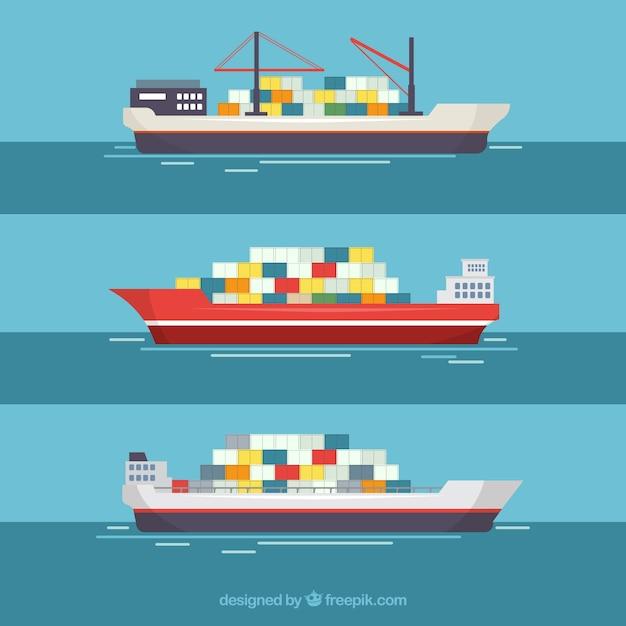 Containerschepen Gratis Vector