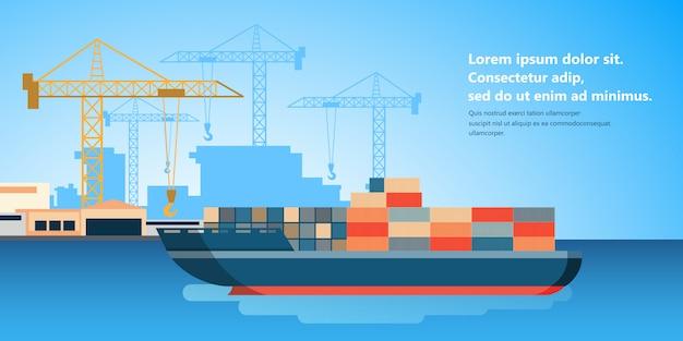 Containerschip bij vrachthaven terminal lossen Premium Vector