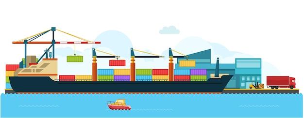 Containervrachtvrachtschip in scheepswerf Premium Vector