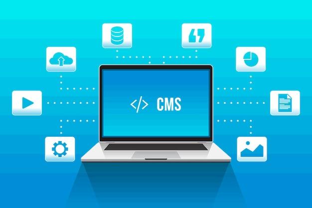 Content management systeem plat ontwerp Gratis Vector