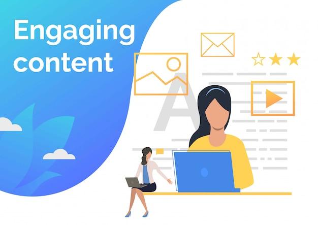 Contentmanagers die inhoud maken Gratis Vector