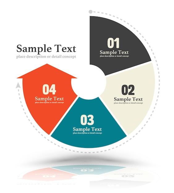 Continue cirkelpijl meerkleurige grafiek Premium Vector