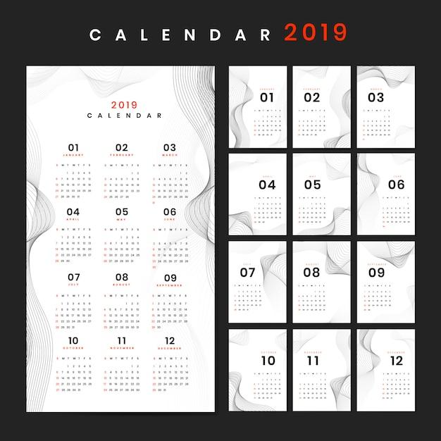 Contour ontwerp kalender mockup Gratis Vector