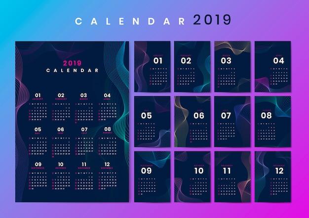 Contour ontwerp kalendermodel Gratis Vector