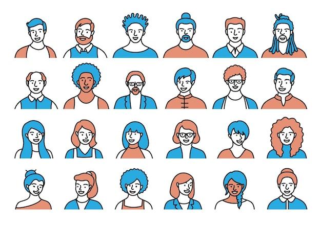Contourreeks personen, avatars, mensenhoofden van verschillende etniciteit en leeftijd in vlakke stijl. mensen met meerdere nationaliteiten worden geconfronteerd met de verzameling pictogrammen van de sociale netwerklijn. Premium Vector