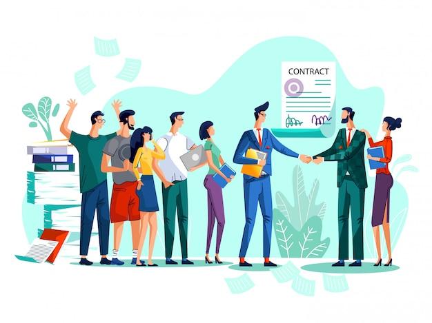 Contract conclusie concept illustratie Gratis Vector