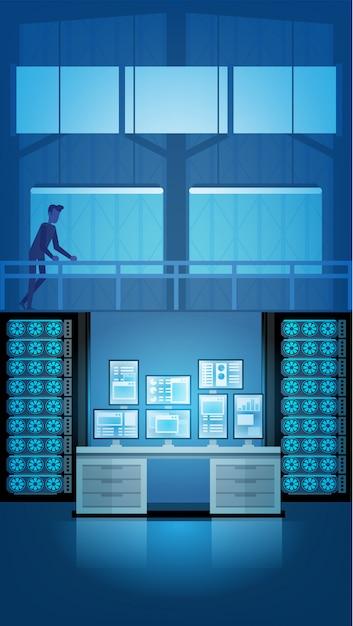Control room console Premium Vector