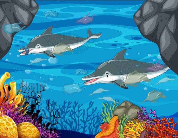 Controle op vervuiling met dolfijnen en plastic zakken Premium Vector