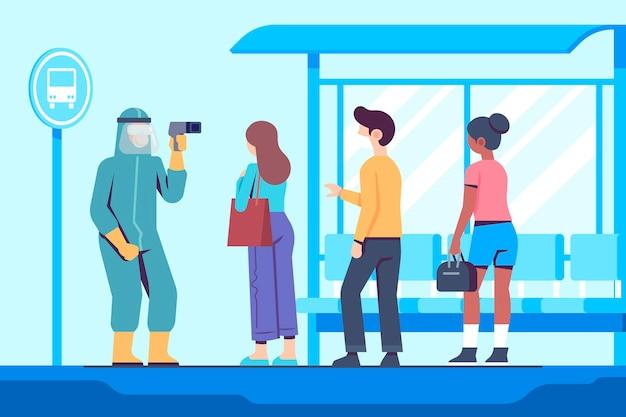 Controle van de lichaamstemperatuur van mensen in openbare ruimtes illustratie Gratis Vector