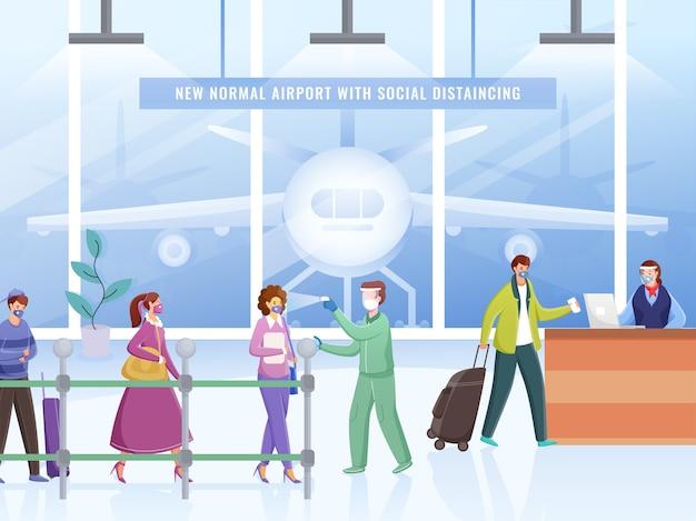 Controleer de lichaamstemperatuur voordat u de luchthaven binnengaat met sanitize van reizigers. bewaar sociale afstand voor de balie om coronaviruspandemie te voorkomen. Premium Vector