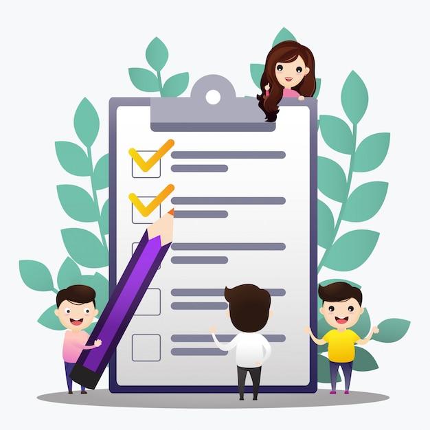 Controleer lijst illustratie. mensen maken plan en controleren. concept van succesvolle doelvoltooiing, productieve dagelijkse planning en taakbeheer Premium Vector