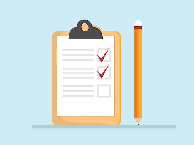 Controleer lijst papier op klembord Premium Vector