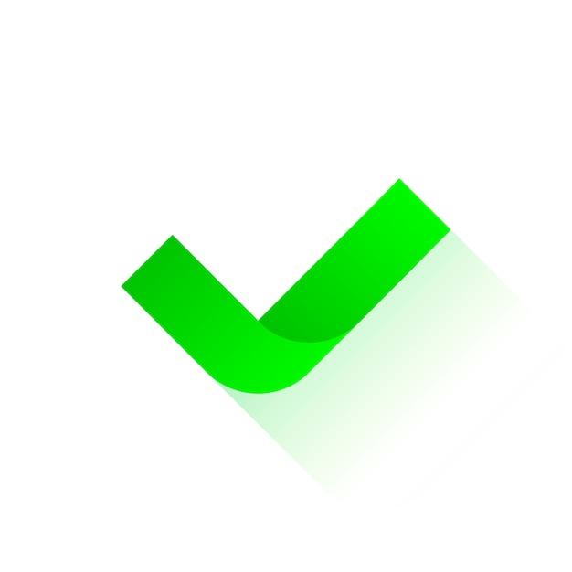 Controleer pictogram met schaduw. Premium Vector