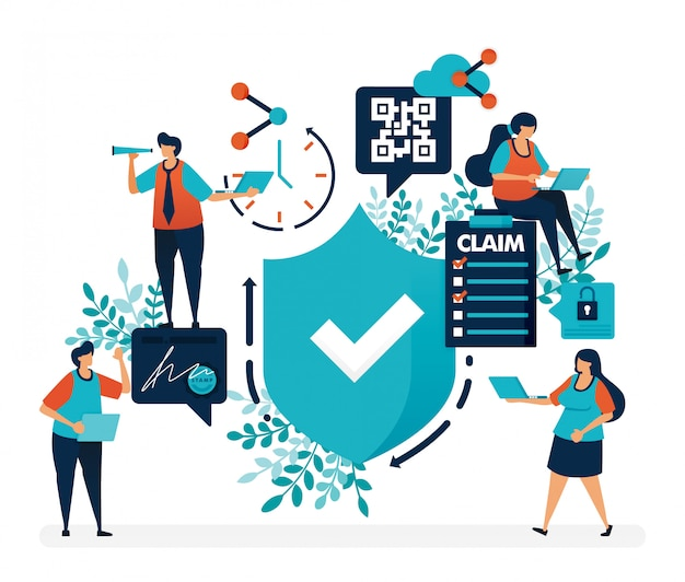 Controleren op veiligheidsbescherming en veiligheidskwaliteitsgaranties. enquête om verzekeringsclaims in te dienen Premium Vector