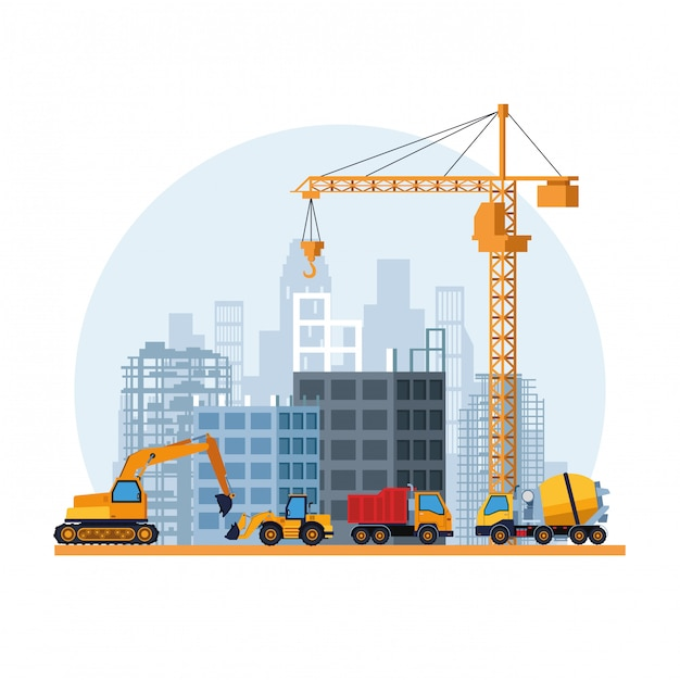 Contruction site cartoon Premium Vector
