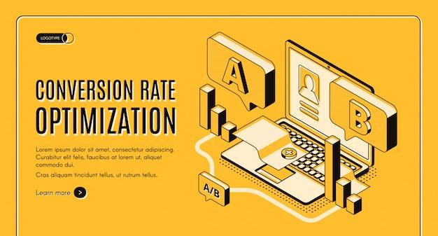 Conversie snelheid optimalisatie online service isometrische vector webbanner Gratis Vector