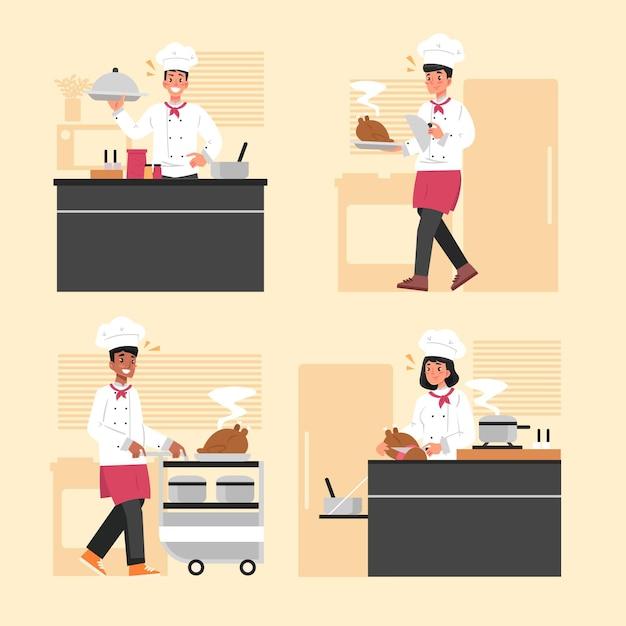 Cook collectie concept Gratis Vector