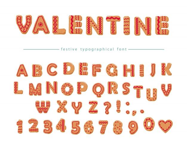 Cookie hand getekende decoratieve lettertype Premium Vector