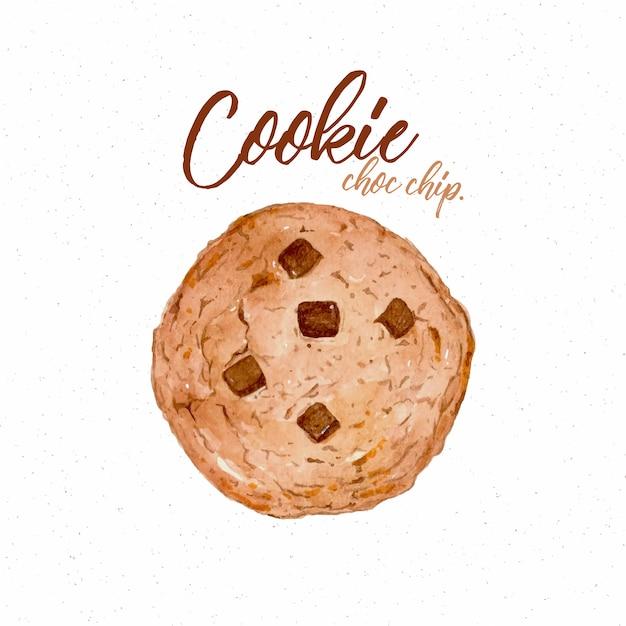 Cookie met chips illustratie Premium Vector