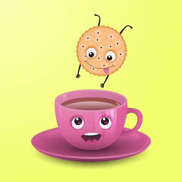 Cookie springt in een kopje thee. Premium Vector