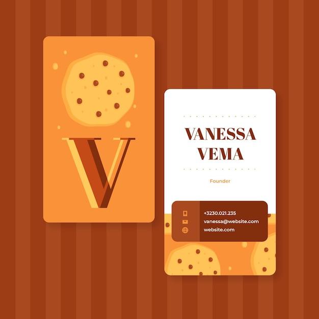 Cookies dubbelzijdig visitekaartje sjabloon Gratis Vector