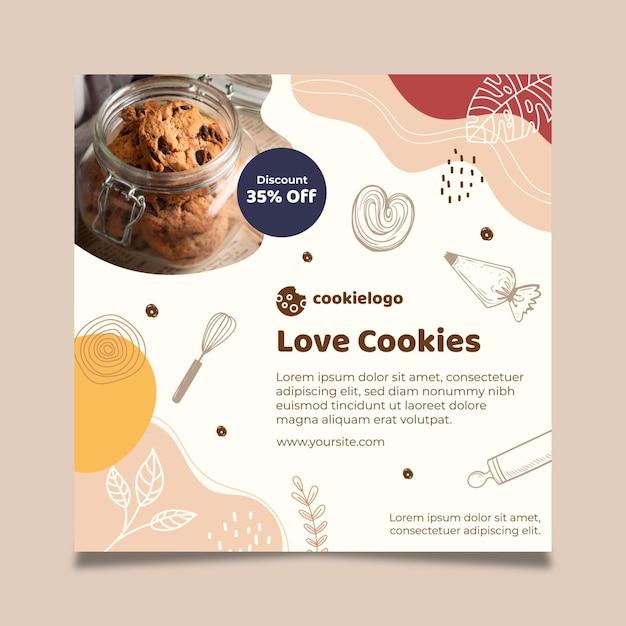 Cookies flyer sjabloon thema Gratis Vector