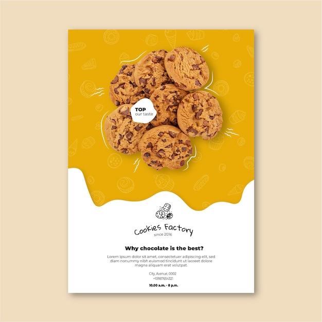 Cookies flyer verticale sjabloon Gratis Vector