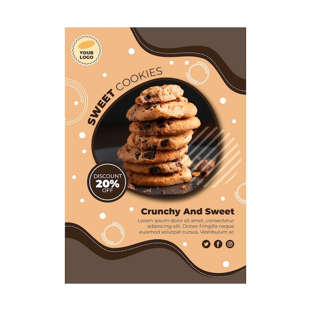 Cookies folder sjabloon Gratis Vector