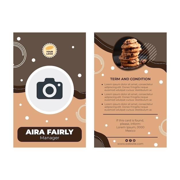 Cookies id-kaartsjabloon Gratis Vector