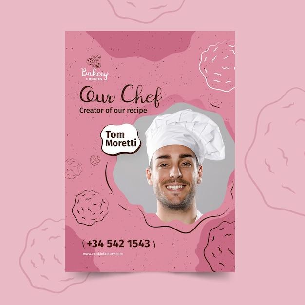 Cookies poster sjabloon met foto Gratis Vector