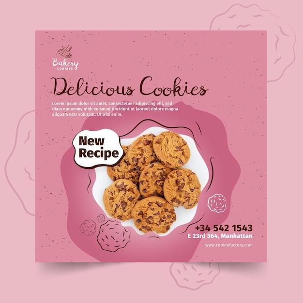 Cookies vierkante sjabloon folder met foto Gratis Vector