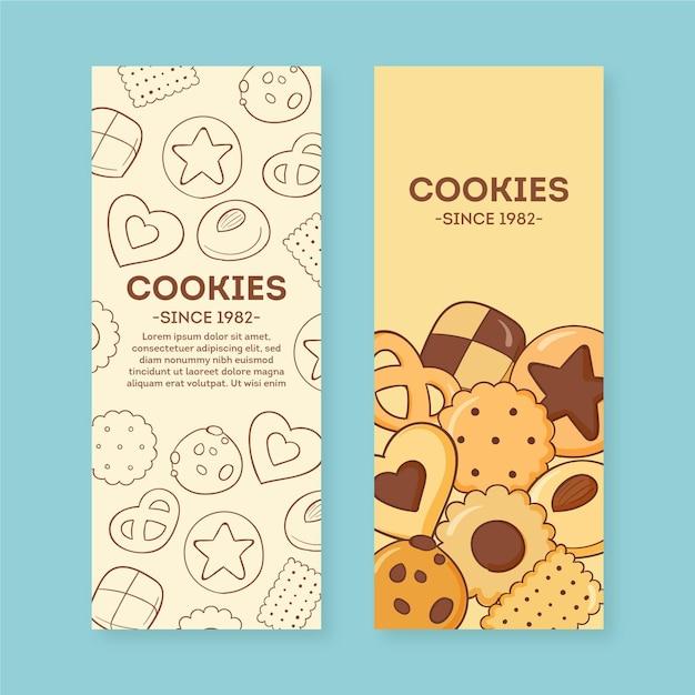 Cookies winkel banner ingesteld sjabloon Premium Vector