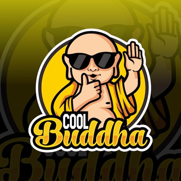 Cool boeddha mascotte esport logo ontwerp Premium Vector