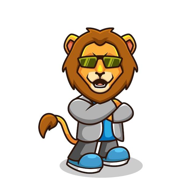 Cool casual lion cartoon afbeelding Premium Vector