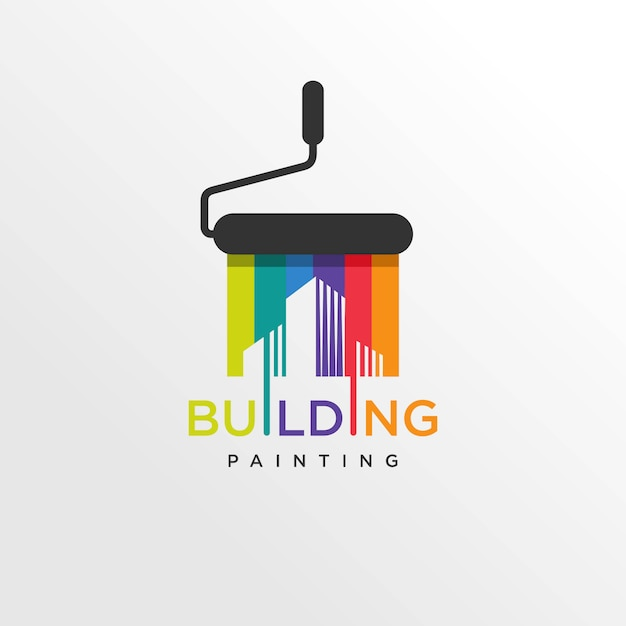 Cool gebouw verf logo stijl, modern, verf, schilderen, constructie, bedrijf, bedrijf, Premium Vector