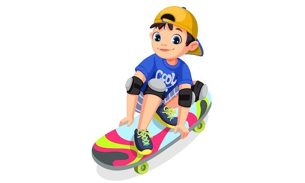 Cool jongen op skateboard maken van stunts Gratis Vector