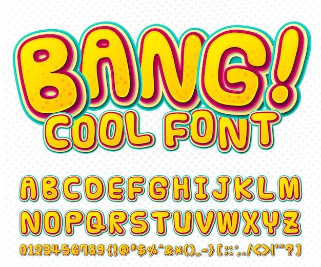 Cool komisch lettertype, kid's alfabet in de stijl van stripboeken, pop art. meerlagige grappige kleurrijke letters en cijfers Premium Vector