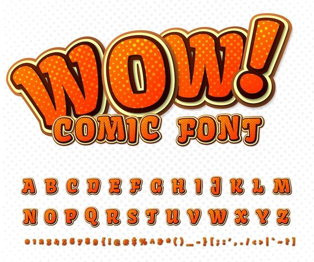 Cool komisch lettertype, kid's alfabet in de stijl van stripboeken, pop art. meerlagige grappige oranje letters en cijfers Premium Vector
