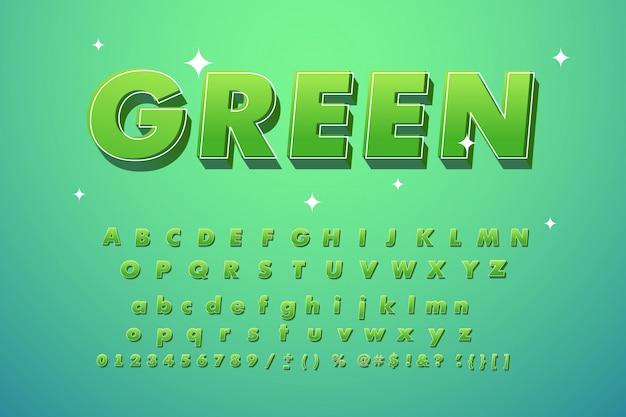 Cool modieus groen lettertype. Premium Vector