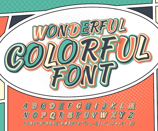 Cool veelkleurige komische lettertype. alfabet in stijlstrippagina, pop-art. grappig lettertype van letters en cijfers Premium Vector