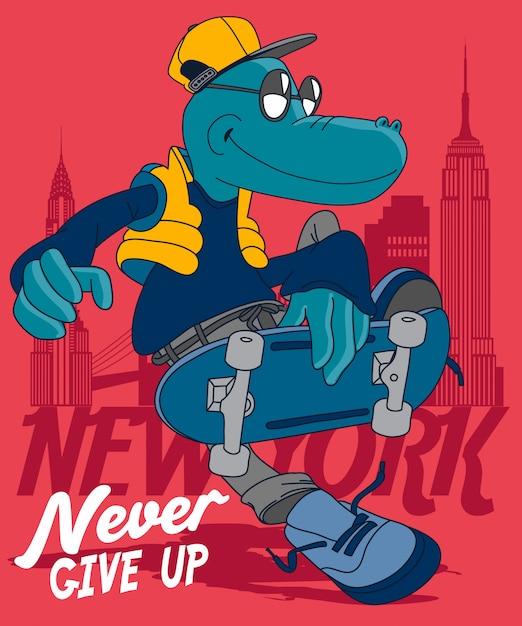 Coole dinosaurus skateboarden Premium Vector