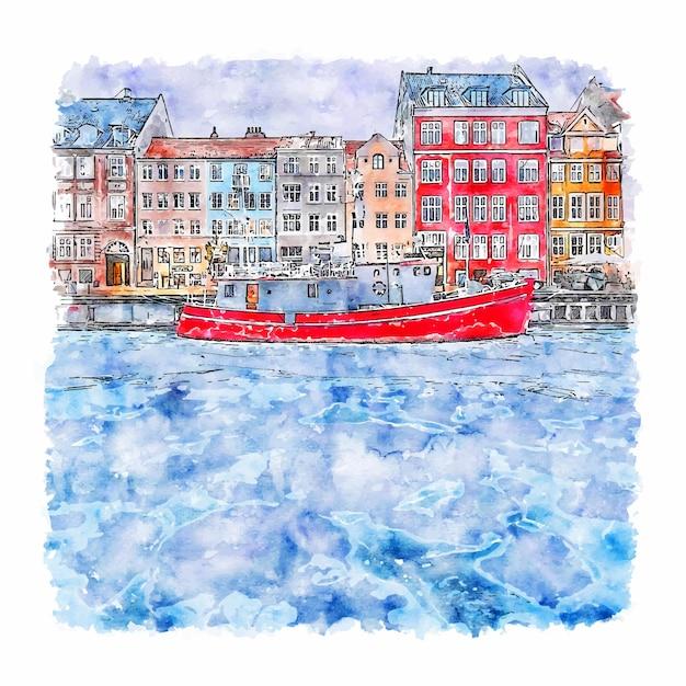 Copenhagen dennmark aquarel schets hand getrokken illustratie Premium Vector