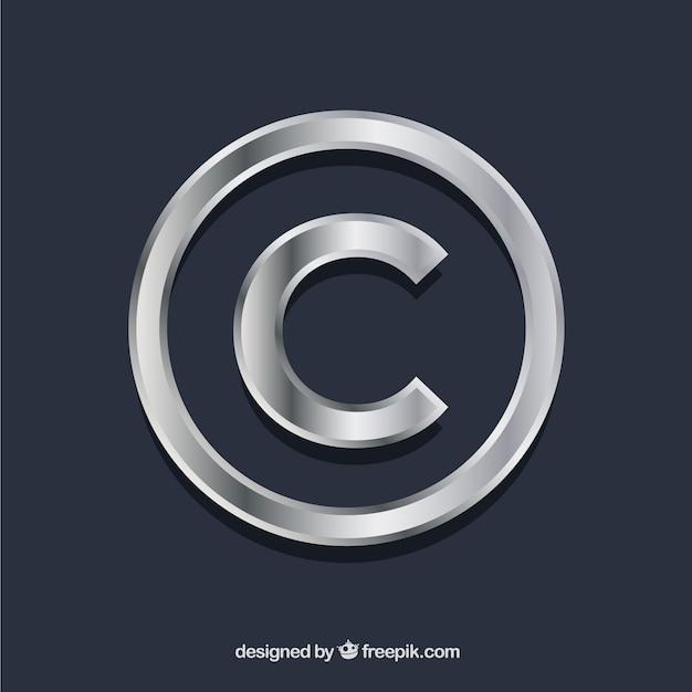 Copyright-symbool in zilveren kleur Gratis Vector
