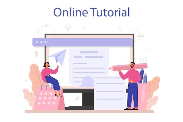 Copywriter online service of platform. idee van het schrijven van teksten, creativiteit en promotie. waardevolle inhoud maken voor advertenties. online zelfstudie. vector illustratie Premium Vector