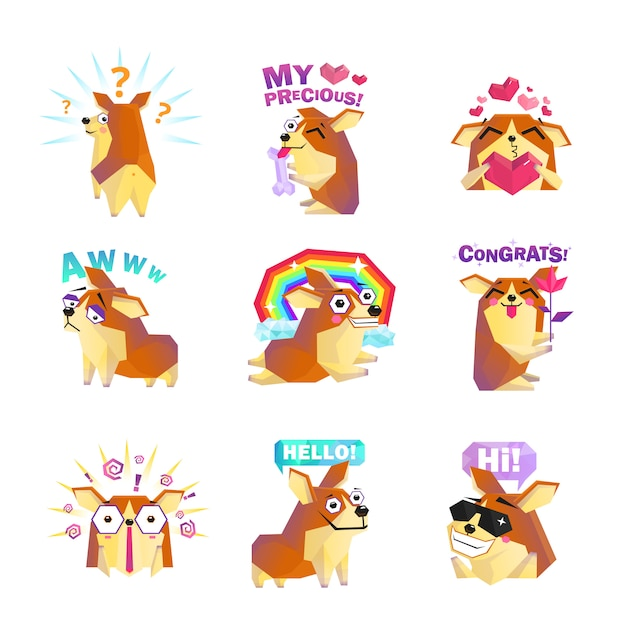 Corgi dog cartoon bericht iconen collectie Gratis Vector