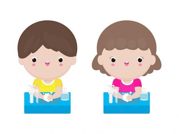 Coronavirus 2019-ncov of covid-19 ziektepreventieconcept met schattige kinderen die handen wassen met zeep geïsoleerd op een witte achtergrond afbeelding Premium Vector
