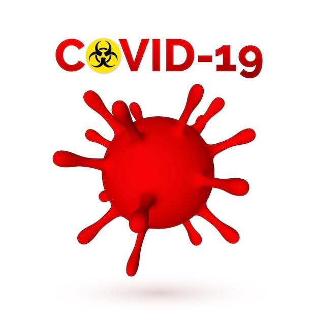 Coronavirus 3d illustratie van viruseenheid. Premium Vector
