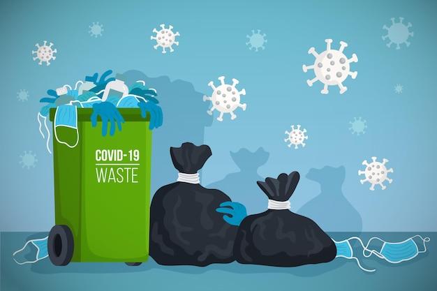 Coronavirus afval achtergrond Gratis Vector