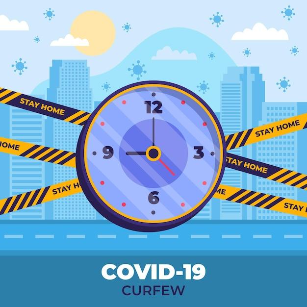 Coronavirus avondklok concept Gratis Vector