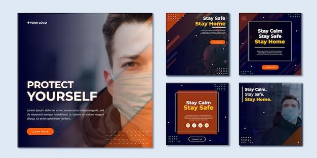 Coronavirus-berichten op sociale media Premium Vector